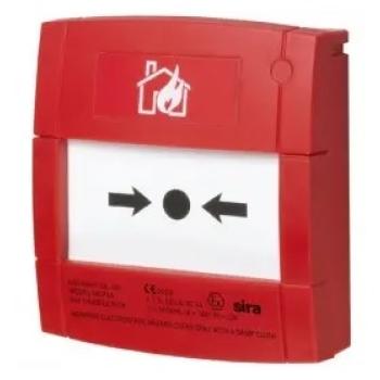 Botão de alarme vermelho redefinível para sistemas convencionais.