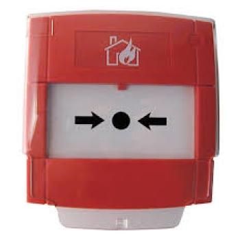 Botão de alarme de quebra de vidro com contato NA ou NF, cor vermelha para sistemas convencionais.