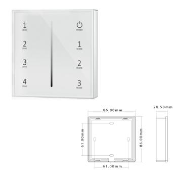 Painel Tátil DIMMER 4 Zonas p/controladores SLighting