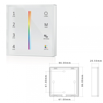 Painel Tátil 4 Zonas RGB + CCT p/ controladores SLighting