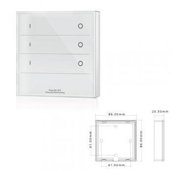 Painel Tátil 3 Zonas DIMMER ON/OFF p/controladores SLighting