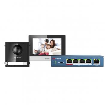Kit de de vídeo porteiro IP Plug & Play HIKVISION DS-KIS602