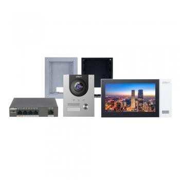 Kit video porteiro IP Dahua DHI-KTP01(F) Instalação de embutir